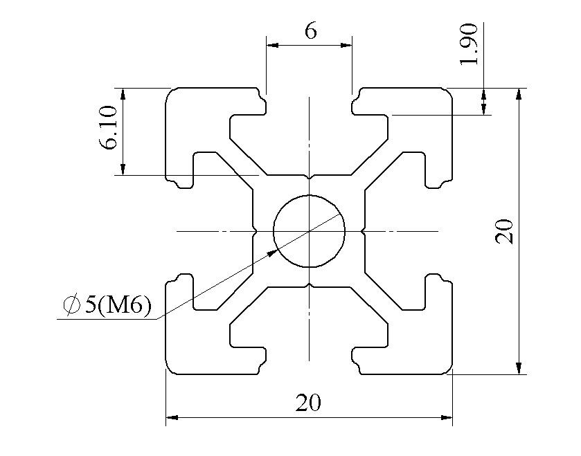 Bản vẽ nhôm định hình 20x20