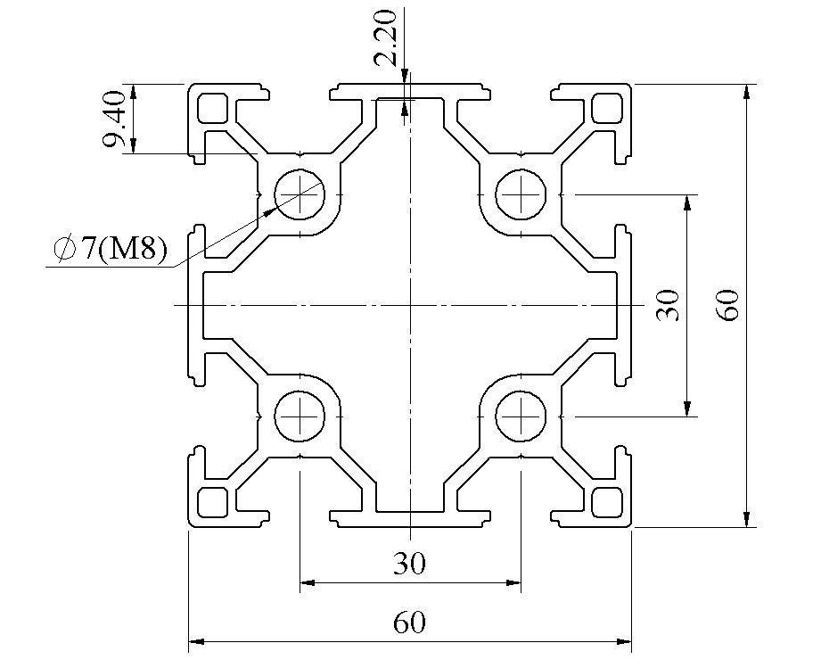 Bản vẽ Nhôm định hình 60x60