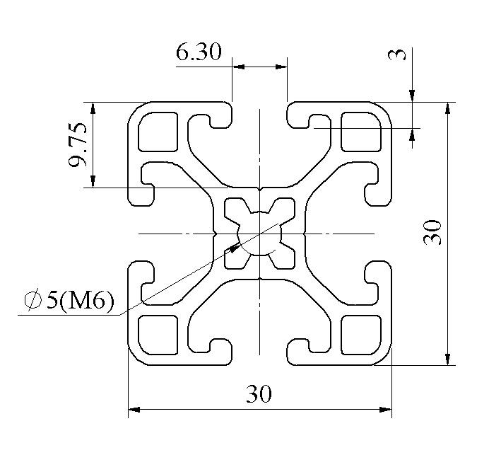 Bản vẽ 2d nhôm định hình 30x30