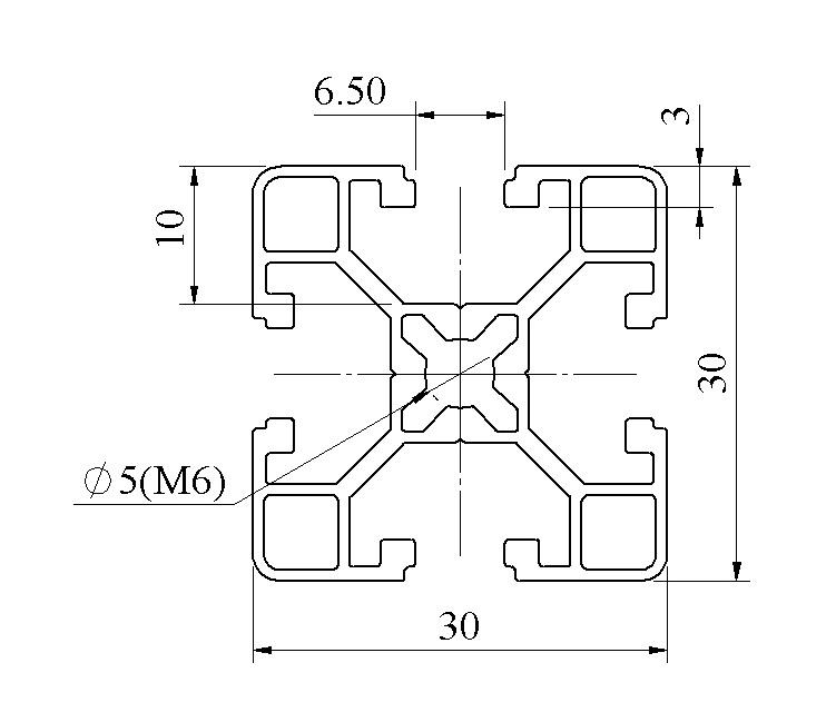 Bản vẽ 2d Thanh nhôm định hình 30x30 - AM1