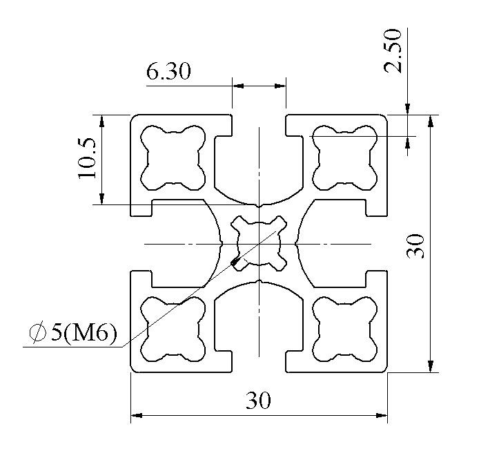 Bản vẽ Nhôm định hình 30x30 ATV6-3030-04
