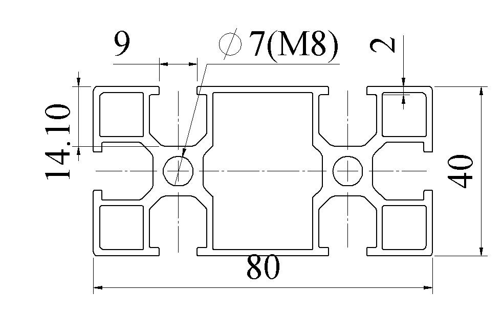 Nhôm định hình 40x80 - 02