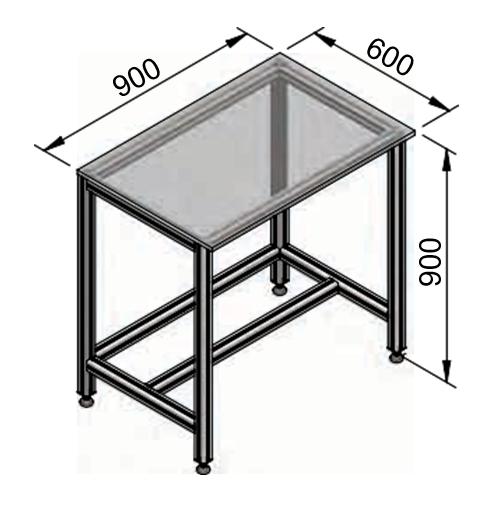 bản vẽ bàn thao tác khung nhôm định hình