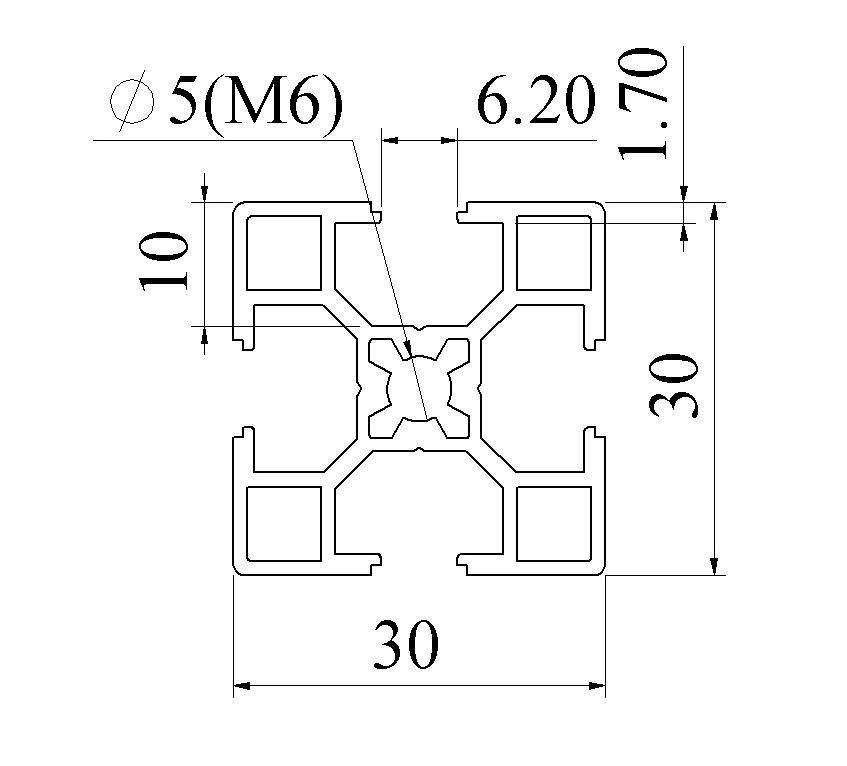 bản vẽ nhôm định hình 30x30